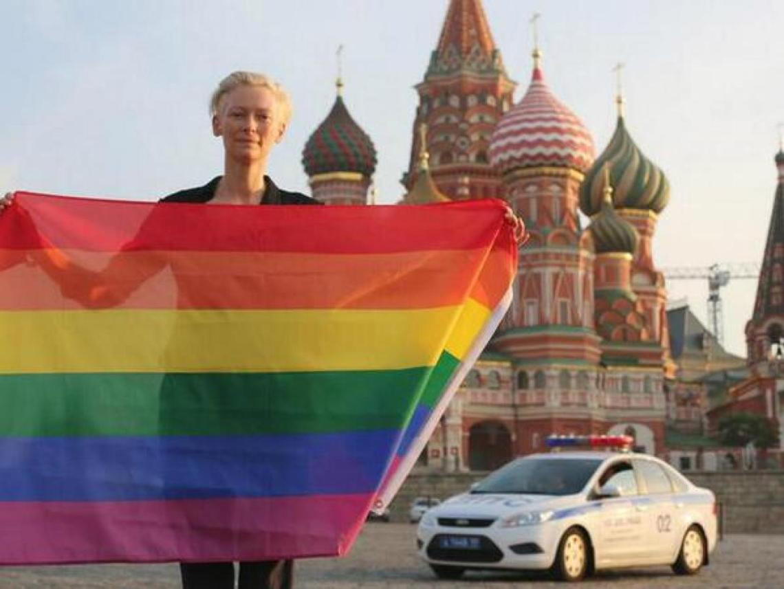 Tilda Swinton risks incarceration to protest Russia's anti-gay laws. Thank you, brave lady.